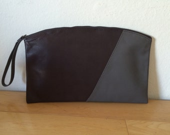 Dual Tone Leather Clutch with Zipper