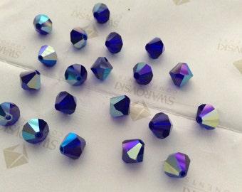 Swarovski #5301 Crystal Cobalt Blue AB Bicone Faceted Beads 4mm 6mm 8mm