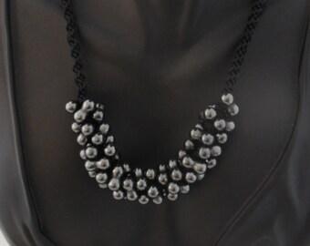 Black Double Hematite Kumihimo Braided Necklace