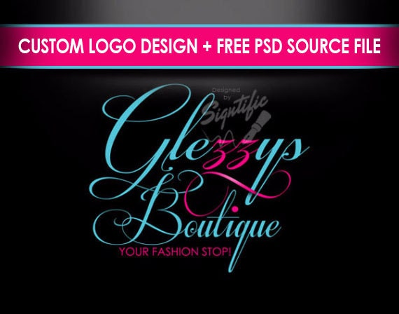 Boutique logo, elegant logo design, pink and turquoise logo, free PSD source file, online boutique logo, OOAK logo, business logo design