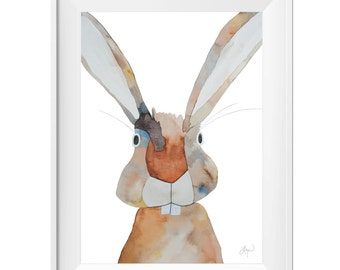 Beautiful Brown Bunny Rabbit - Watercolor Art Print