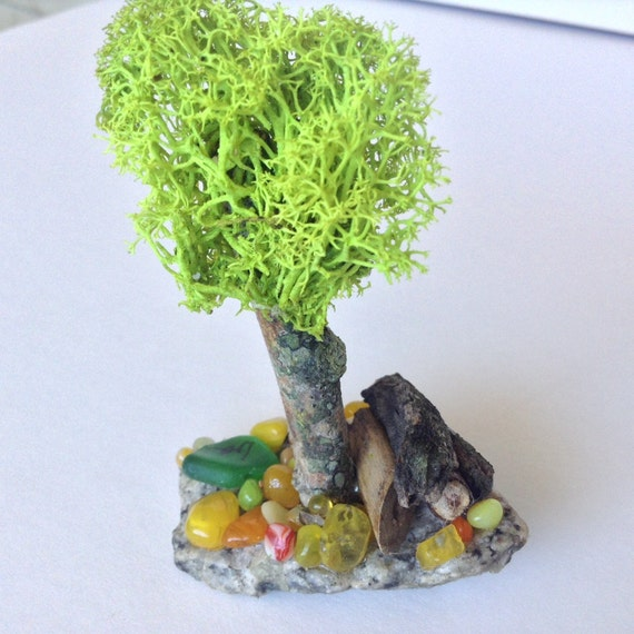 Tiny Fairy Garden Trees Lime Green Lichen Fairy Garden Tree Fairy Garden  Decor Air Plant Decor Unique Fairy Garden Fairy Garden Accessories