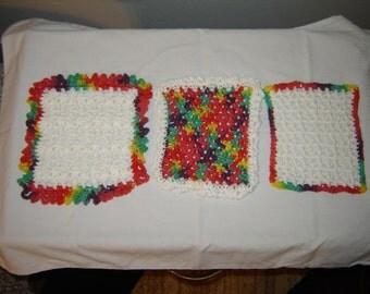 Set of Three Crocheted Square Potholders