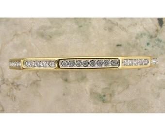 Vintage 1990s SWAROVSKI Bracelet Gold Metal 10-Sided Bangle with Crystals