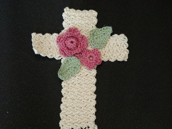 CROCHET PATTERN Floral Cross Bookmark EASY
