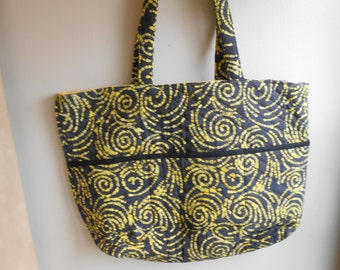 Large quilted batik tote