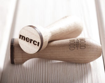 TINY CUTE (MERCI) - engraved, embossing cookie stamp