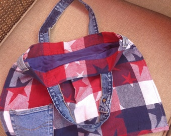 Handmade lined tote bag with up-cycled denim