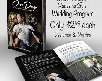 Wedding Program - Custom Magazine Style Program - designed and printed for only 2.99 each!