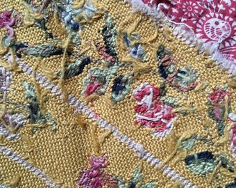 Antique silk tapestry late 1800s, armchair sample, soft yellow, pink, white, green floral motif, upholstery, cushion, vintage textile