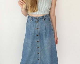 Vintage Long Jean Button Down Skirt