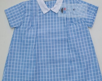 The sixties vintage dress Terlenka fabric 1950's old new stock original tag toddler 12-18 months still new peter pan collar cotton poly