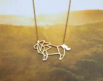 Lion Necklace, Origami necklace, Animal necklace, Geometric Necklace, Lion jewelry, Woodland Jewelry, Gift for Friend, Gift under 30