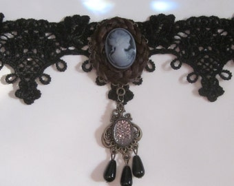Choker made with real human hair.Inspiered by victorian mourning jewelry
