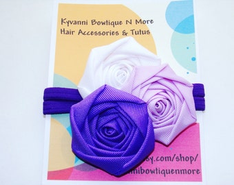 Purple, White, Orchid Rolled Rosette Headband, Baby Girl Headbands. Wedding, Photos Or Special Occasions.