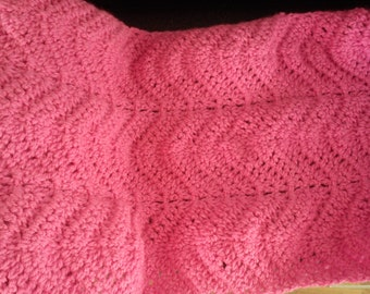 Hand crochet ripple scarf pink designer one off
