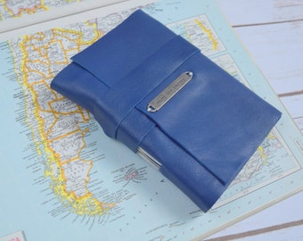Travel Journal - Personalized Blue Leather Journal - Handmade Bound Blank Book -  Diary - monogram journal - Writing Notebook -Sketchbook