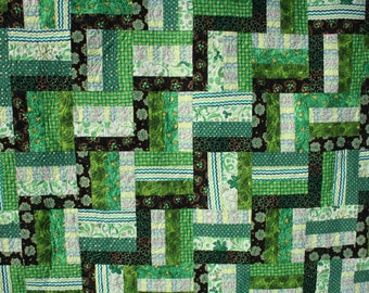 Irish Green Lap Quilt - Shamrocks on a Rail Fence