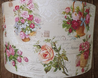 Vintage Rose Floral Lampshade shabby chic lamp shade cottage bedroom Free Gift