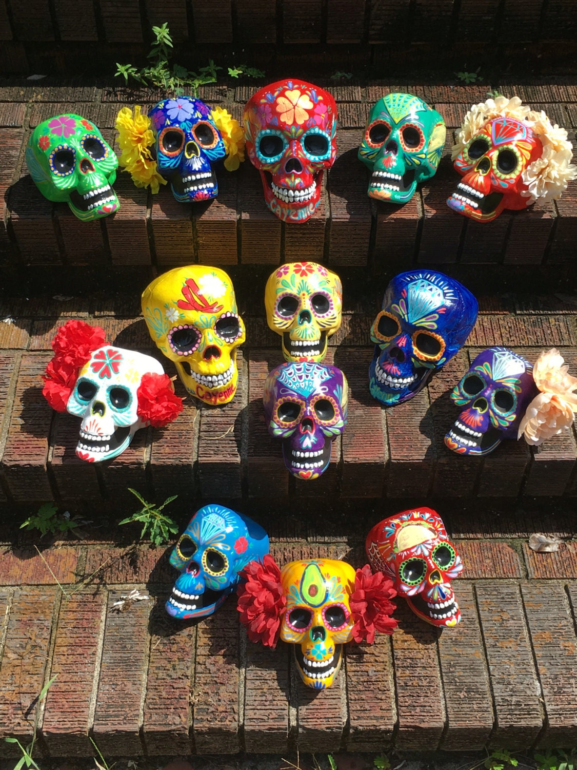 Day Of The Dead Painted Sugar Skull Skull Sculpture