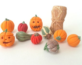 Miniature Pumpkins, Thanksgiving Decorations, Polymer Clay Pumpkins, Dollhouse Miniatures, Carved Pumpkin, Thanksgiving Clay Ornaments