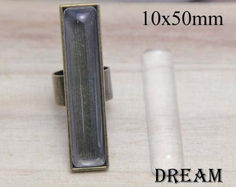 10x50mm Rectangle ring base, Rectangle Ring Blanks - Finger Ring Trays for cabochon - Finger Ring Setting