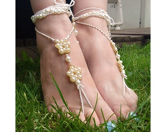 ON SALE - barefoot sandals, foot jewellery, beach sandals, orange beads boho style sandals