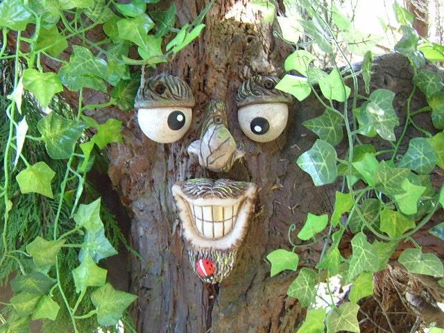 Goatee Tree Face A Handmade Garden Ornament Sculpture