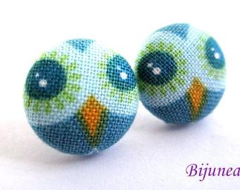 Owl earrings - Blue owl earrings - Owl studs - Owl stud earrings - Owl posts - Owl post earrings sf1101