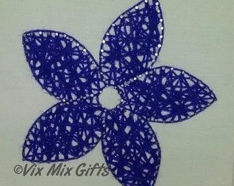 Flower string art; flower art; purple flower