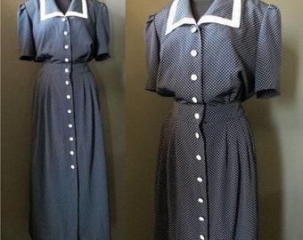 On Sale Vintage 80's Navy Blue Polka Dot Secretary Dress XL
