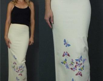 Vintage 1990's '90s Yellow Pastel Butterflies Print Maxi Bandage Skirt High Slit XXS-XS