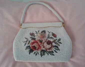 Beaded Handbag, White with Floral Design