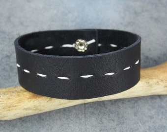 Mens Leather Bracelet / Black and White Leather Bracelet / Mens Bracelet / Leather Bracelet / Black Leather Bracelet
