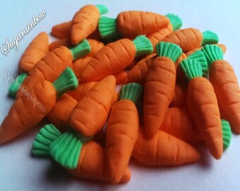 25 Edible sugar carrots vegetables decorations  for cake cupcake toppers