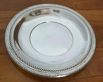 "Antique Sterling Silver Ornate Pierced Rim Round Serving Platter/Plate 9 1/4"""