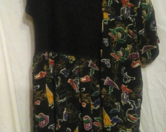 Vintage Carol Little Pull Over Dress With Jacket..Geometric Design on Black..Size 4/6
