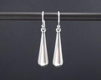 Teardrop Earrings Sterling Silver Long Puffy Teardrop Dangle Drop Earrings, Modern Earrings, Simple Earrings