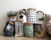 Geometric paper bag storage, Storage Bin, Storage Basket, Toy Storage