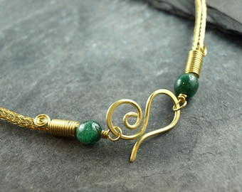 Viking knit chain. Aventurine, spiral, cosplay