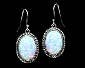 Fire Opal 10X14, Oval Hook Earrings..925 Sterling Silver