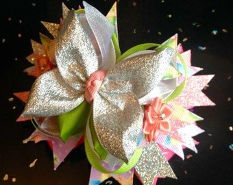 Tinkerbell, Disney Princess, Extra Special Glitter, Hair Bow Clip Approx Size 5.5-6inch