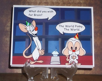 """Pinky and The Brain - World Domination - 4 x 5"""" Card With Envelope - Happy Birthday - Just Because - Thank You"""