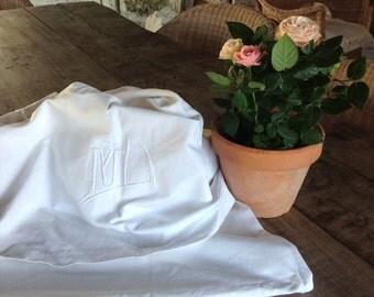 M D monogrammed vintage french linen sheet wedding trousseau dowry