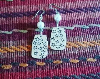 Multi star handstamped mason jar earrings
