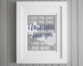 Widespread Panic Lyrics Nursery Print, Love You More and More, Lyrics Baby Room Quotes - Nursery Wall Decor, Grey, White Navy Blue Print