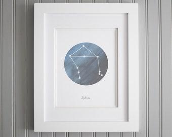 Constellation Libra Wall Art, Star Sign Print, Astronomy Libra Print, Libra Star Poster, Star Sign Zodiac Print, Libra Constellation Stars