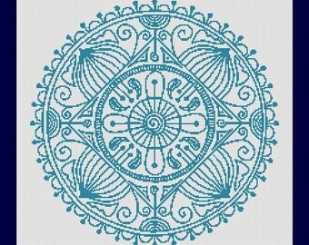 Blue Mandala One Color Counted Cross Stitch Pattern (14.21 x 14.21 inches or 36.1 x 36.1 cm) download printable PDF Chart (4039)