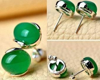 White Gold Emerald Green Agate Earrings