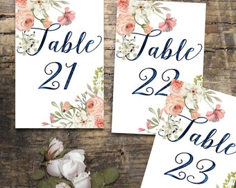 Wedding Table Numbers 20-30, Printable Table Numbers, rustic table number, flower table numbers, Wedding Printable, Wedding table Sign,